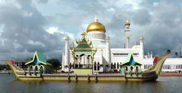 A gold domed mosque in Brunei