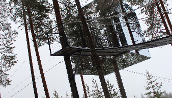 A Cube room suspended in the trees in Swedish Lapland