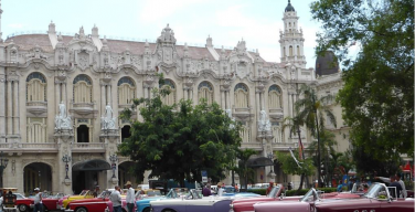 Vintage cars line the streets of Havana, Cuba