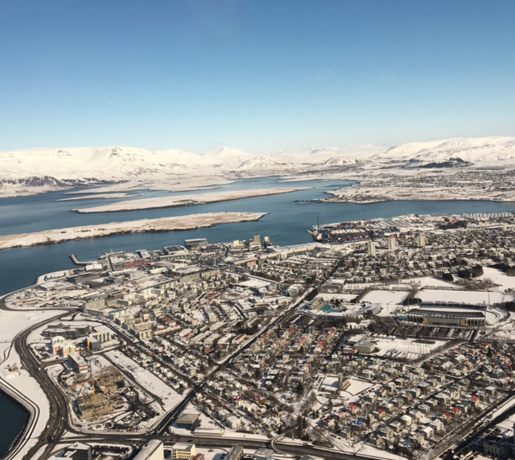 A helicopter view of Iceland