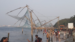Chinese fishing nets on the beachfront are unique to Cochin