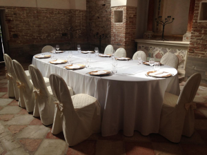 A table set for a meal after a blessing