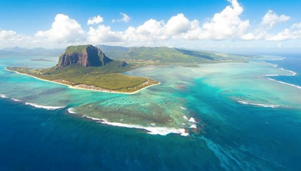 Mauritius rises from the Indian Ocean